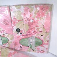 3 Pair Vintage Mid Century Plastic Decorator Drapes MCM Pink Floral 1960s NOS