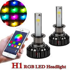 2x H1 72W APP Control Car 8000LM RGB LED Headlight Kit Driving Fog Light Bulbs