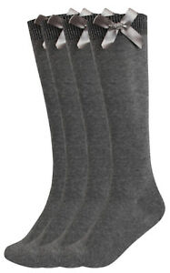 Girls Multipack Grey School Socks Long Knee High With Satin Bows Fashion Socks