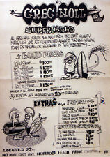 1960s Greg Noll surfboard shop price list with illustration work done by Griffin