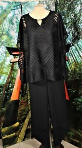 COCKTAIL PALAZZO PANT SUIT SEPARATE PLUS BLACK  16W-LARGE (NWT TOP)