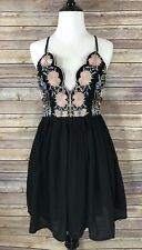 NWT Womens Angel Biba Strappy Deep V Floral Embroidered Black Mini Dress 10