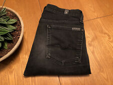 WOMENS SEVEN 7 FOR ALL MANKIND THE SKINNY BLACK ITALIAN JEANS 28 X 30 NICE!