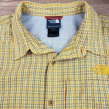 The North Face Men's Sz L Yellow Check S/S Shirt Button Up Zip Chest Pocket