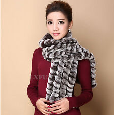 Winter Womens Real Rex Rabbit Fur Scarves Knitted Fur Long Wraps Length 140cm