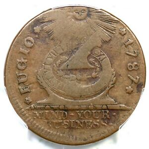 1787 13-R R-4 PCGS VF 25 STATES UNITED 4 Cinq Fugio Colonial Copper Coin
