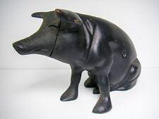 "Antique Cast Iron Piggy Bank Door Stop Pig Great Condition 9"" long 5 lbs."