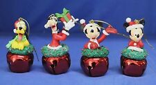 Pluto Goofy Mickey & Minnie Mouse Bell Christmas Ornament Disney 45297 Set of 4