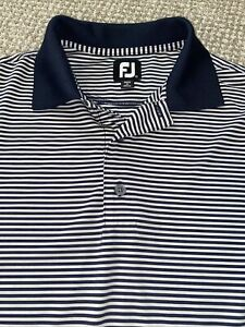 FootJoy Golf Polo Shirt Men's Medium Short Sleeve Navy Blue Striped EUC
