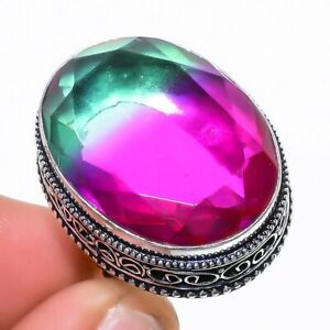 Bi-Color Tourmaline Gemstone Handmade Vintage Silver Jewelry Ring Size 6 RR1566