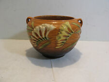 Vintage Roseville Art Pottery Freesia Planter Jardiniere Brown 669-4