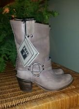 Frye Grey Leather Carmen Harness Short Boots New! 6
