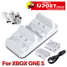 Dual Charging Dock Charger+2 Rechargeable Battery For Xbox One S Controller 2016
