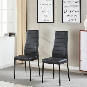 2× Black Faux Leather Dining Chairs Metal Legs High Back Kitchen Dinning Room UK