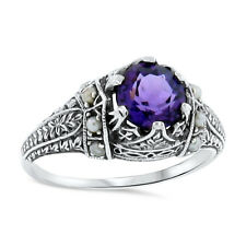 Hydro Amethyst Seed Pearl Antique Victorian Design 925 Silver Ring Size 6,#110