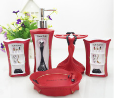 5pcs Fashion Lady Pink Red Bathroom accessories set Soap dish Dispenser Gift New