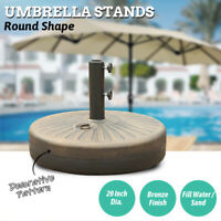 Patio Umbrella Base Garden Outdoor Parasol Resin Stand with Steel Round Holder