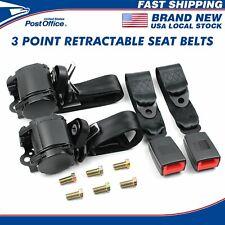 2x Retractable 3 Point Safety Seat Belt Straps Car Vehicle Adjustable Belt Kit Fits Toyota