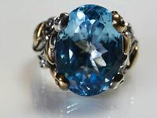 Barbara Bixby Vine & Leaf Sterling Silver 18k Gold Huge BLUE TOPAZ Ring 7