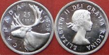 Brilliant Uncirculated 1958 Canada Silver 25 Cents From Mint's Roll