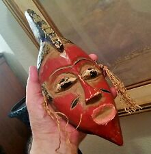 RED PASSPORT MASK ivory coast african tribal art wood carving west africa trade