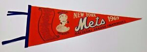 Super Rare 1969 NY Mets Original World Series Pennant In EX-MT+ Condition