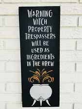 "Large Rustic Wood Sign - ""Warning...Witch..."" Halloween Sign, Black And Orange"