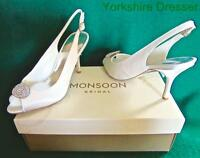 New MONSOON Ivory Satin 4 7 Peep Toe CECILE Crystal Brooch Bridal Wedding Shoes