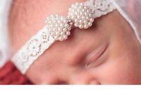 Laces Rhinestone Pearl Headbands Newborn Christening Girls Hairs Accessories New