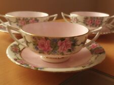 Antique X5 Rare Minton Two Handle Floral Cup And Saucer Sets