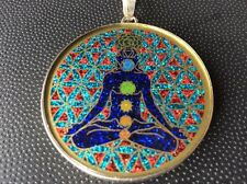 """$72 Necklace Lotus Pose Chakra Flower Of Life Turquoise 1 5/8"""" Sterling Silver"""