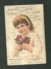 1880s Advertising Trade Card Austen's Forest Flower Cologne Perfume Oswego NY
