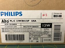 8 Philips Compact Fluorescent Bulbs - 2 pin PL-C 13W - USA model #841