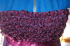 New Sz 10 Purple Chiffon skirt Maxi Dress Pearl effect bead flowers Punkyfish