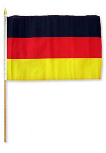"12x18 12""x18"" Wholesale Lot of 3 German Germany Stick Flag wood staff"