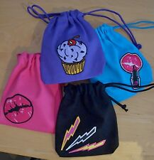 4 Drawstring Wristlet Pouch Cosmetic / Gift Bags Cute Betsey Johnson Appliques