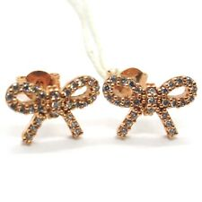 Gold Earrings Pink 18K, Bow With Zircon Cubic , Gold 750, Knot