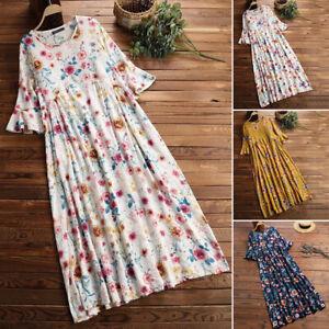 ZANZEA Women Summer Short Sleeve Floral Sundress Loose Fit Baggy Long Maxi Dress