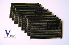 US USA American Flag patch REVERSE SUBDUED OLIVE GREEN & BLACK  **LOT of 8**