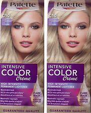2 x Schwarzkopf Palette Color Creme C 10 FROSTY SILVER BLONDE Hair Dye + Mask