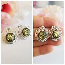 Green AMBER Post Earrings Genuine Baltic AMBER 925 Sterling Silver Stud Earrings