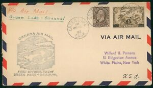 MayfairStamps Canada First Flight Cover 1933 Green Lake Saskatchewan to Beauval
