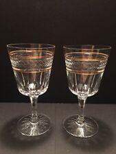 Seneca Gold Brocade #960 Stem #1438 Laurel Cut Crystal 3 Water / Wine Goblets