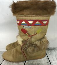 Tecnica Brown Fur Made in ITALY Snow Apres Ski Boots Southwest Women's Size 8.5