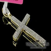 Men's Womens .22Ct Genuine Real Diamond 10k 100% Yellow Gold Cross Charm Pendant