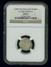 G.B./U.K./ENGLAND HENRY III  1247-1272  SILVER PENNY COIN, CERTIFIED NGC AU53