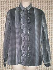 Vintage JCPenny Black/White Ruffle Front LS Blouse Sz Jrs 11/12 B:38 W:37 L:23