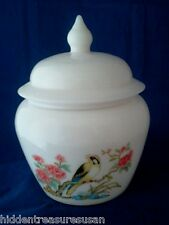 Avon Milk Glass Ginger Jar with Goldfinch Design