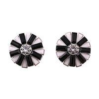 Pretty 3D black and white lotus / rose / plum / sunflower flower stud earrings