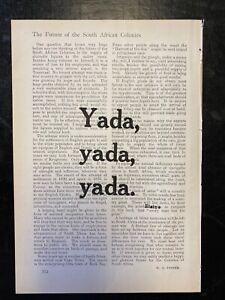 """Yada, yada, yada""  Seinfeld Elaine Quote -Print Vintage Book Page Wall Art"